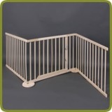 Expansible safety gate room divider playpen 180-240cm, wood, 3 elements, img 1 - Barreras de seguridad y corralitos