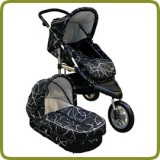 3 wheeler pram + carry cot black - Carritos y Cochecitos
