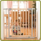 Safety gate Lola 73-131,5 cm , wood + metal, grey - Barreras de seguridad y corralitos